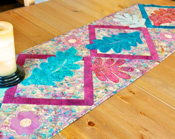 Handmade Quilted Table Runner Fall Leaves Table Mat Linens Applique Teal Blue Rust Copper Batik Fabric Dining Table