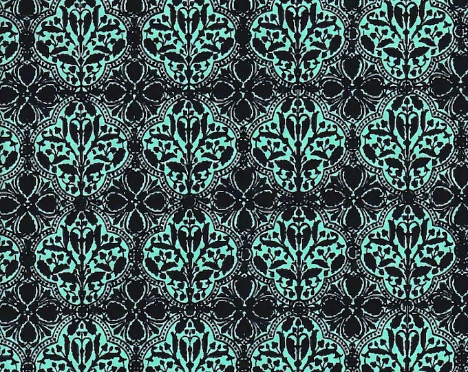 One Yard Riley Blake Fabric Bo Bunny Serenity Tiles Teal Cotton Quilting Fabric Floral Print Remnant Destash Home Decor Crafting
