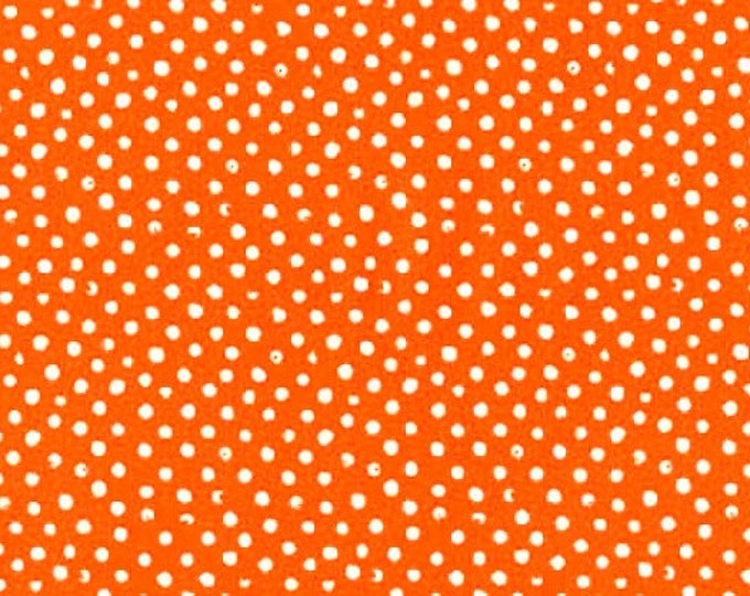 Dear Stella Confetti Dots Fabric by the Yard Fire Orange Cotton Quilting Fabric Whimsical Polka Dot Blender Halloween Home Decor