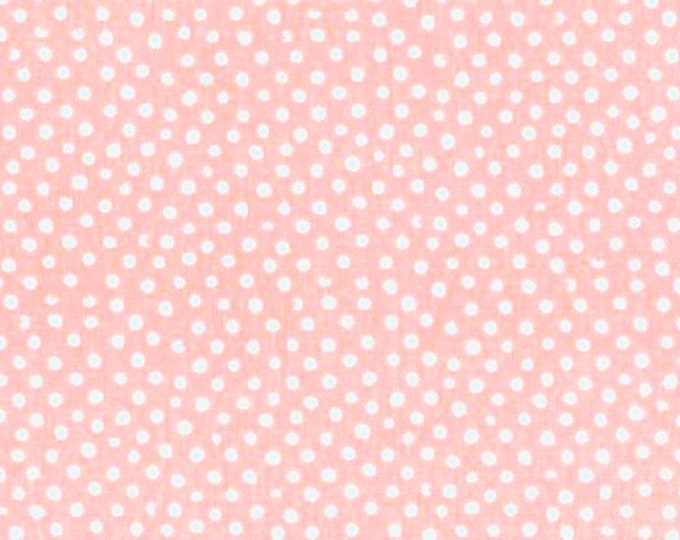 Fabric by the Yard Dear Stella Confetti Dots Shell Pink Cotton Quilting Fabric Whimsical Polka Dot Nursery Baby Girl Crafting Home Decor