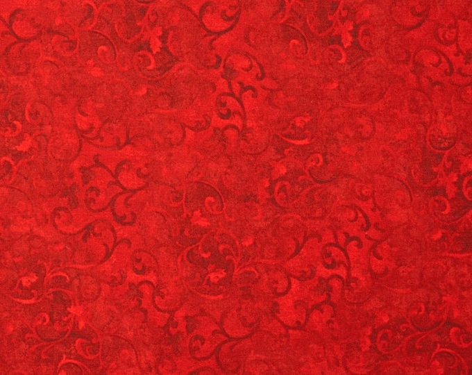 One Yard Remnant Wilmington Prints Fabrics Essentials Ruby Days Scroll Dark Red Cotton Quilting Fabric Holiday Crafting Home Decor