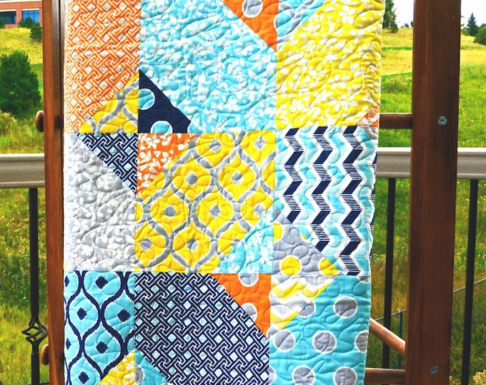 Handmade Quilts for Sale Modern Quilt Lap Quilt Free Shipping Colorful Patchwork Quilt Cotton Quilted Throw Home Decor Blue Yellow