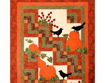 "Quilt Pattern ""Harvest Cabins"" by Cottage Quilt Designs Applique Pumpkins Shapes Quarter Log Cabin Block Throw Quilt Project Wall Hanging"