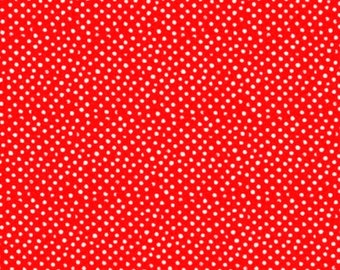Fabric by the Yard Dear Stella Mini Confetti Dots Tomato Red Cotton Quilting Fabric Whimsical Polka Dot Kids Crafting Home Decor