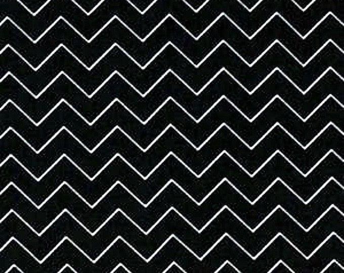 Fabric by the Yard Dear Stella Zig Zag Black Cotton Quilting Fabric Whimsical Chevron Halloween Crafting Home Decor