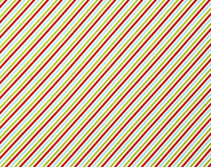 Fabric by the Yard Moda Sweetwater Holly's Tree Farm Bias Stripe Candy Cane Multi Holiday Cotton Quilting Fabric Home Decor Crafting