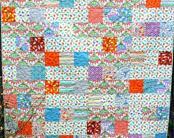 Handmade Quilts for Sale Butterfly Lap Quilt Throw Blanket Home Decor Baby Girl Patchwork Quilt Kids Colorful