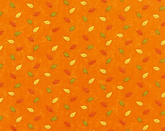 One-Half Yard Moda Fabric Remnant Sandy Gervais Perfectly Seasoned Fall Leaves Pumpkin Orange Cotton Quilting Fabric Destash Autumn Red