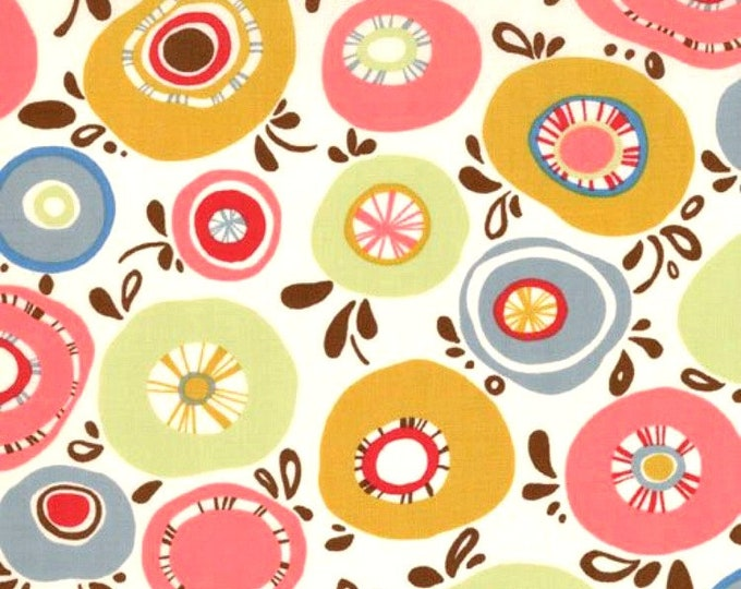 Fabric by the Yard Moda Fabric Sanae Panache Gold Green Dusty Blue Cotton Quilting Fabric Whimsical Floral Print