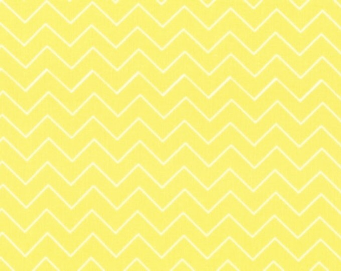 Fabric by the Yard Dear Stella Zig Zag Lemon Yellow Cotton Quilting Fabric Nursery Baby Chevron Whimsical Crafting Home Decor