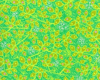 One Yard RJR Fabrics Bloom Crazy Green Leaf Quilting Fabric Cotton Fabric Floral Print Sewing Whimsical Unique Apparel Destash