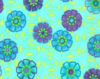 One Yard Moda Fabric Me and My Sister Good Morning Which Way Do I Grow Turquoise Remnant Cotton Quilting Fabric Whimsical Floral Print