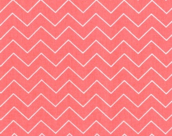 Fabric by the Yard Dear Stella Zig Zag Coral Pink Cotton Quilting Fabric Chevron Whimsical Geometric Print Crafting Home Decor