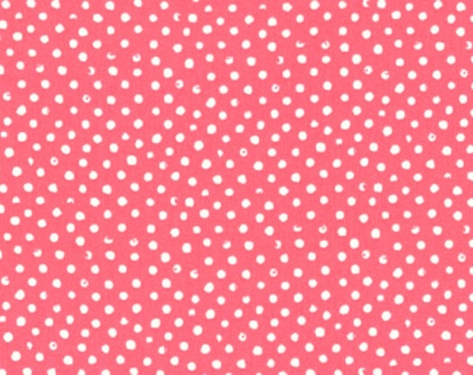 Dear Stella Confetti Dots Fabric by the Yard Coral Pink Cotton Quilting Fabric Whimsical Polka Dot Blender Baby Girl Nursery Crafting