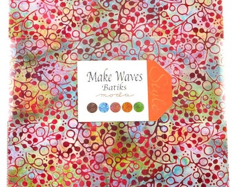 Moda Fabric Make Waves Batiks Fabric Bundle Layer Cake Ten Inch Squares Cotton Quilting Fabric Precut Teal Purple Red Gold Brown Grey