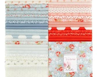 Moda Fabric 3 Sisters Victoria Fabric Bundle Layer Cake Ten Inch Squares Cotton Quilting Fabric Precut Pastel Blue
