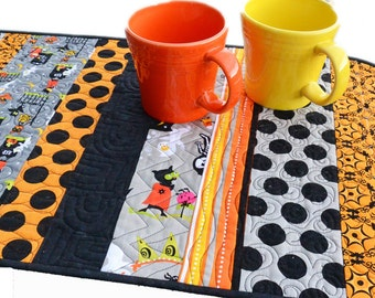 Handmade Quilted Halloween Table Runner Black and Orange Table Decor Kid Friendly Home Decor Party Fall Autumn Contemporary