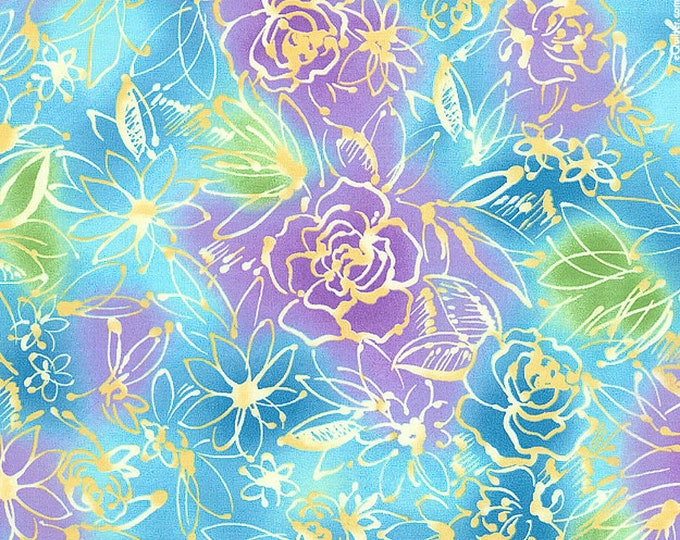 One-and -One-Half Yards Remnant Shangrila Fabrics Studio 8 Quilting Treasures Cotton Quilting Fabric Fantasy Floral Print Apparel Destash