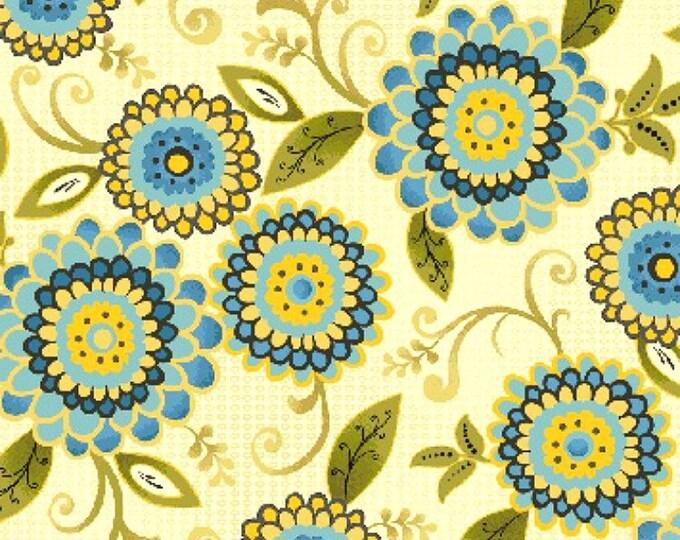 Fabric by the Yard Benartex Fabrics Zoe Main Floral Cotton Quilting Fabric Cream Blue Apparel Sewing