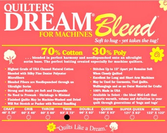 Quilters Dream Blend for Machines Twin Size Quilt Batting Cotton Polyester Blend Machine Quilting Low Loft Soft Crafting Wall Hangings