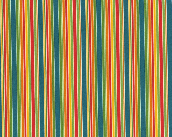 One Yard RJR Fabric Remnant Patrick Lose Lily's Garden Spice Teal/Multi Stripe Cotton Quilting Fabric Destash Home Decor Teal Orange Green