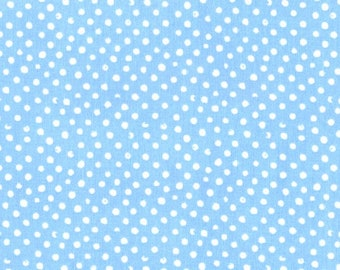 Fabric by the Yard Dear Stella Mini Confetti Dots Sky Blue Cotton Quilting Fabric Whimsical Sewing Nursery Baby Boy Blender Crafting