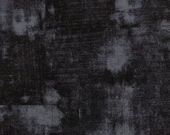 Moda Fabrics Basic Grey Grunge Onyx Black One-and-One-Third Yards Remnant Cotton Quilting Fabric Halloween Destash