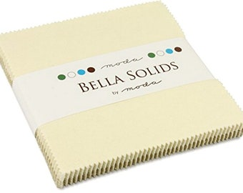 Moda Fabrics Bella Solids Five Inch Square Charm Pack Neutral Oatmeal Cotton Quilting Fabric Apparel Sewing Cream Ivory