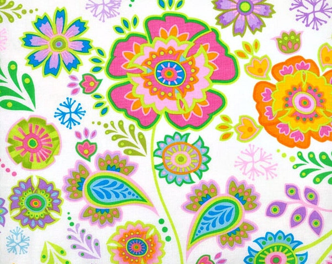 Fabric by the Yard RJR Fabrics Bloom Crazy White Jacobean Print Cotton Quilting Fabric Floral Pattern Apparel Whimsical Unique Girl