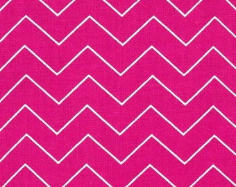 Fabric by the Yard Dear Stella Zig Zig Raspberry Cotton Quilting Fabric Pink Cute Chevron Whimsical Girl Crafting Home Decor