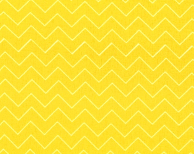 One Yard Dear Stella Zig Zag Sun Yellow Cotton Quilting Fabric Nursery Baby Chevron Whimsical Crafting Home Decor
