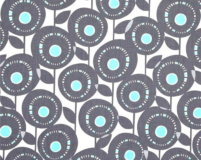 One Yard Michael Miller Fabric Pastel Pop Aretha Aqua Remnant Cotton Quilting Fabric Grey Gray Apparel Destash