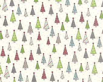 Fabric by the Yard Moda Sweetwater Holly's Tree Farm White Red Black Holiday Cotton Quilting Fabric Christmas Trees Home Decor Crafting