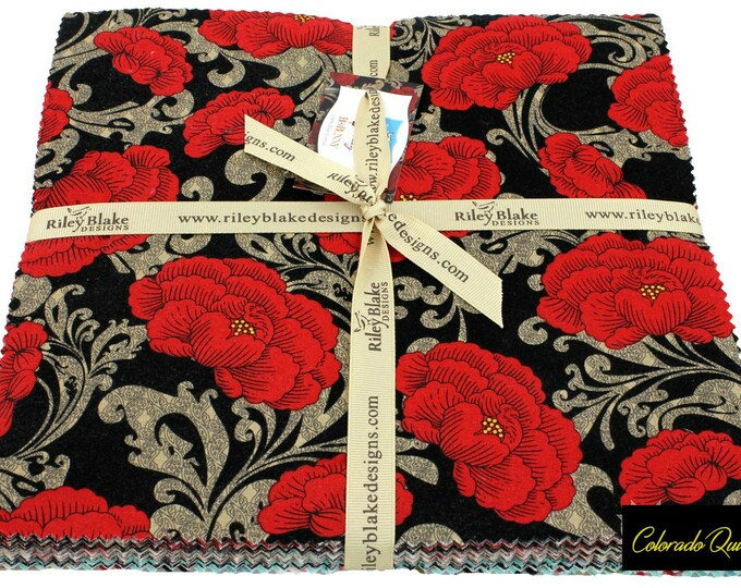 Riley Blake Fabric Bundle Layer Cake Ten Inch Square Stacker Bo Bunny Serenity Cotton Quilting Fabric Floral Print Precut