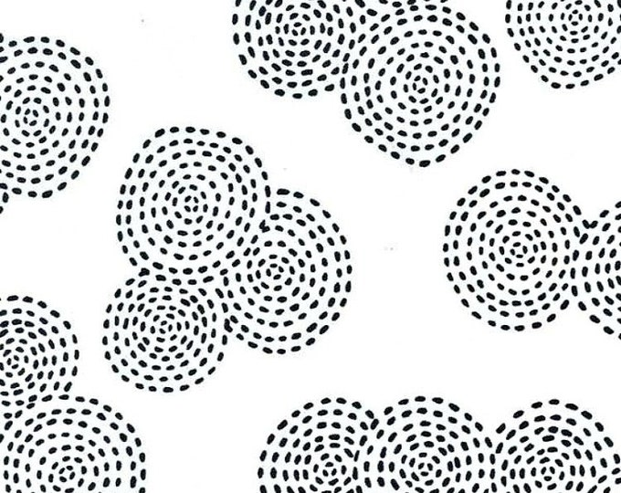 One Yard Michael Miller Fabric Stitch Circle Haze Black and White Cotton Quilting Fabric Destash Crafting Home Decor