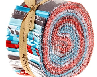 Two-and-a-Half Inch Strips Riley Blake Fabric Jelly Roll Rolie Polie Tanya Whelan Desert Bloom Turquoise Coral Grey Cotton Quilting Fabric