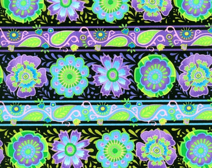 Fabric by the Yard RJR Fabrics Bloom Crazy Purple Floral Stripe Black Cotton Quilting Fabric Floral Print Sewing Whimsical Girl