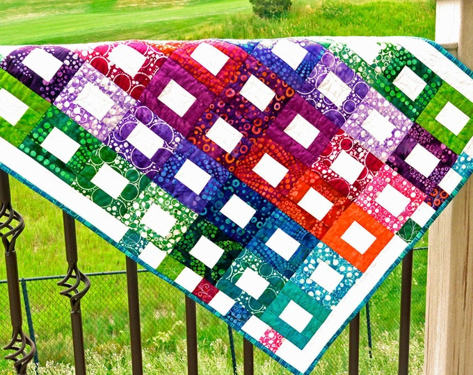Handmade Quilts for Sale Contemporary Wall Hanging Quilted Cotton Wall Art Batik Fabric Free Shipping Home Decor Rainbow Cute Unique Print