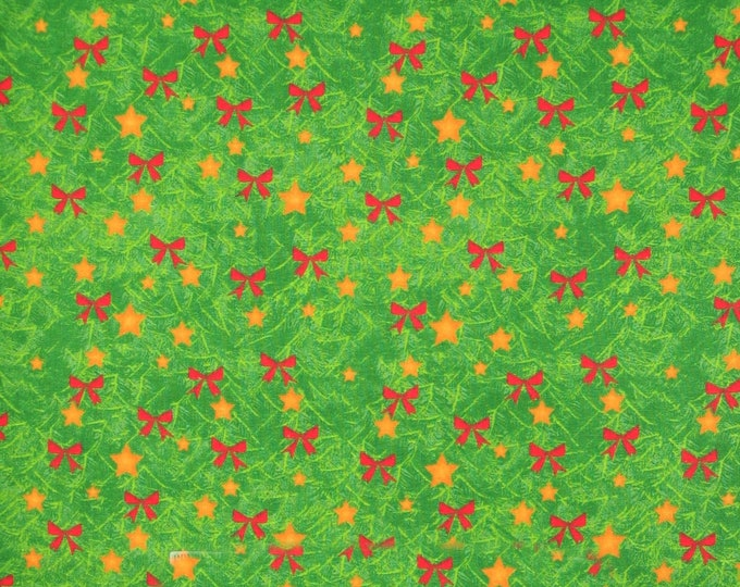 One Yard Remnant AE Nathan Fabric Decorations Green Red Gold Holiday Cotton Quilting Fabric Bows Stars Home Decor Crafting