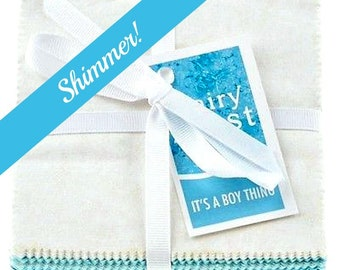 Michael Miller Fabrics Fairy Frost Five Inch Squares Charm Pack It's a Boy Thing  Metallic Shimmer Blue Aqua Teal  Cotton Quilting Fabric
