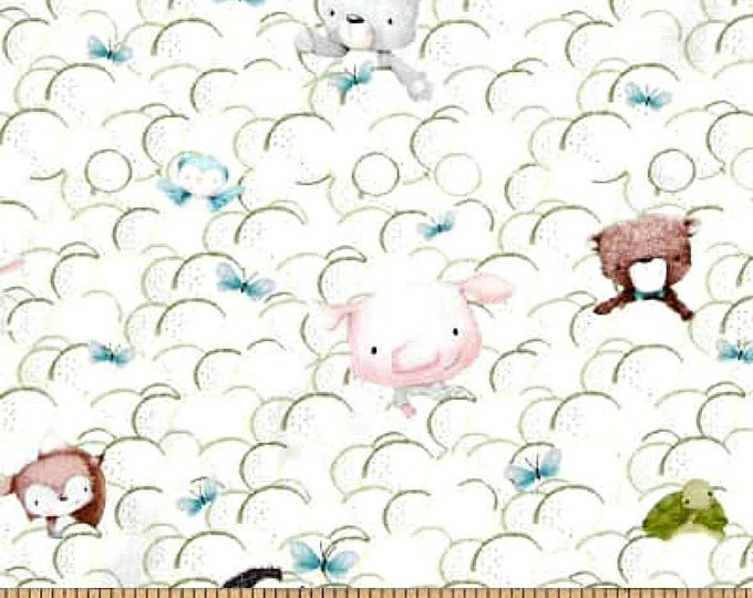 Fabric by the Yard Quilting Treasures Snuggle Buddies Animals in Bubbles White Cotton Quilting Fabric Nursery Baby Crafting Home Decor