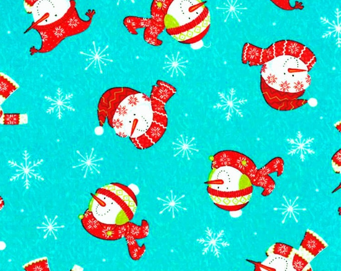 One-and-One-Half Yard Remnant Moda Deb Strain Be Jolly Aqua Icy Snowmen Cotton Quilting Fabric Snowflakes Holiday Crafting Home Decor