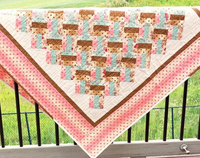 Handmade Baby Quilt Pink Baby Blanket Nursery Baby Girl Baby Gift Quilt Girl Blanket