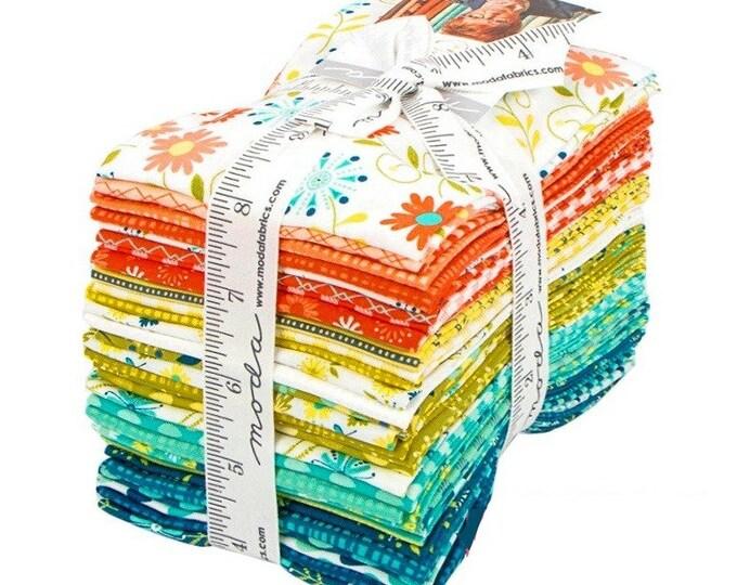 Moda Fabrics 33 Fat Eighths Fabric Bundle Sandy Gervais Well Said Cotton Quilting Fabric Precut Coral Ivory Teal Aqua Crafting Home Decor