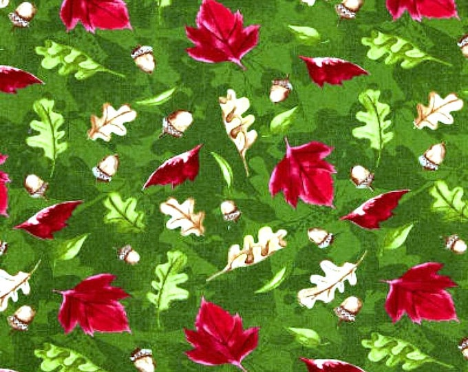 Fabric by the Yard Wilmington Fabric A Colorful Season Fall Leaves Green Cotton Quilting Fabric Autumn Home Decor Crafting Red Brown