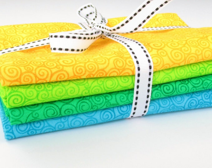 Fat Quarter Fabric Bundle Yellow Abstract Green Print Blue Cotton Quilting Fabric Whimsical Timeless Treasures