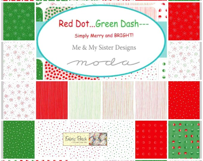 Moda Fabric Me and My Sister Red Dot Green Dash Brushed Cotton Fabric Bundle Layer Cake Ten Inch Squares Quilting Fabric Precut Holiday