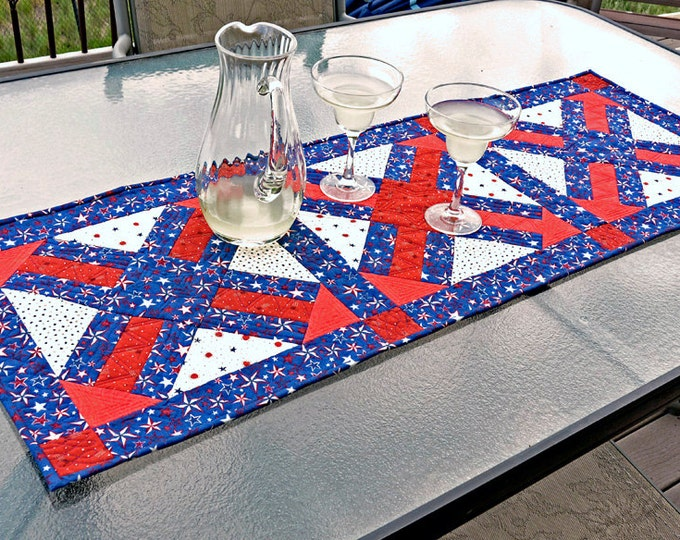 Handmade Quilted Table Runner Patriotic Table Decor Stars Free Shipping Red White Blue Table Mat Home Decor