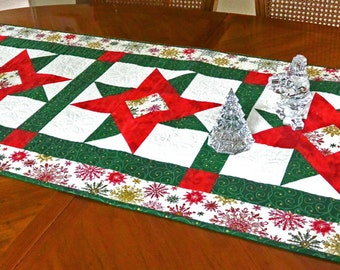Handmade Quilted Christmas Table Runner Holiday Home Decor Table Mat Gift Red and Green Best Gift for Her Stars One of a Kind