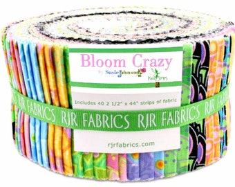 Jelly Roll RJR Fabrics Susie Johnson Bloom Crazy Two-and-a-Half Inch Strips Pixie Strips Cotton Quilting Fabric Bundle Pink Purplecot Precut
